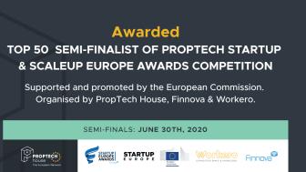 """Sverige i topp när de 50 främsta bolagen presenteras till """"Proptech Startups & Scale-up Europe Awards 2020"""""""
