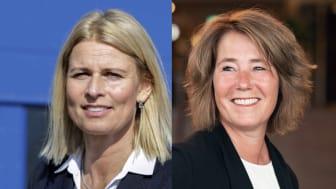 Fr v Jeanette Bernhard Bertilsson, marknadsområdeschef i Halland och Johanna Frelin, vd Riksbyggen.