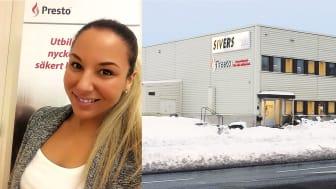 Mikaela Norrman, servicechef Presto (t.v) och Prestos nya depå i Kista (t.h.)