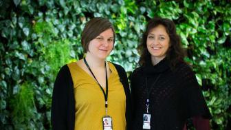 Sara Laginder och Sara Hurtig leder pilotprojektet för att minska resande med flyg.