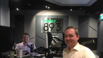 Mark Laudi in the Money FM 89.3 studio with Jason Dasey