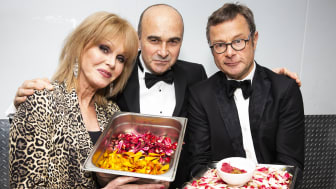 Joanna Lumley OBE, Philip Lymbery (CEO of Compassion in World Farming), and River Cottage Founder Hugh Fearnley-Whittingstall with some of the innovative dishes created for The Savoy's first ever vegan banquet.