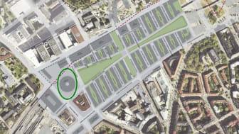Illustration av Stockholm stad. Bilden avser en del av stadsutvecklingsområdet i Hagastaden, Stockholm. Inringad yta avser kv Forskaren.