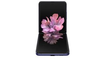 Samsung Galaxy Z Flip_front table top_purple mirror