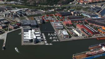 Flygfoto över Lindholmshamnen