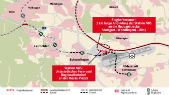 Der Planfeststellungsabschnitt PFA 1.3a zur Anbindung des Flughafens an die NBS Stuttgart–Ulm wurde an eine Arbeitsgemeinschaft aus ZÜBLIN und MAX BÖGL vergeben. (Copyright: www.bahnprojekt-stuttgart-ulm.de)