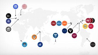 De 21 universitet och institut som samarbetar i Wellcome Leap-nätverket.