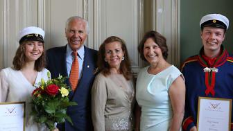 Fanni Sarkadi Kristiansson, Anders Wall, EU-parlamentariker Cecilia Wikström, rektor Heléne Lagerquist och Birger Tannerdal. Foto: Mats Eriksson