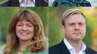 Övre vänster-höger, nedre vänster-höger: Anton Fendert (MP), Malin Fijen Pacsay (MP), Susanne Nordling (MP) och Tomas Eriksson (MP). Fotograf: Fredrik Hjerling