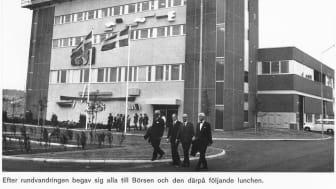 Foto på huvudbyggnaden från invigningen av Ryaverket 1972.