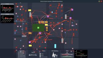 Ögonblicksbild av ASSOCC-simulatorns användargränssnitt som bland annat visualiserar bostäder, arbetsplatser, skolor, sjukhus, busstationer, samt människors förflyttningar.
