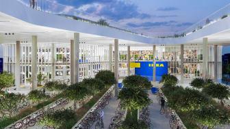 IKEA København får grønne udendørsarealer med 250 træer og buske, og city varehuset bliver nemt at komme til og fra på cykel.