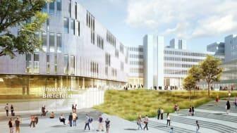 Visualisierung des zukünftigen Haupteingangsbereich mit Neubau der Universität Bielefeld (Copyright: BLB NRW)