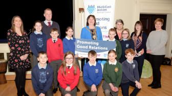 Schoolchildren from across the borough pictured with the Mayor at an engagement programme organised by Mid and East Antrim Borough Council.