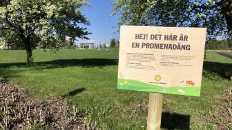 Skylt om promenadäng vid grönyta på Orrholmen.