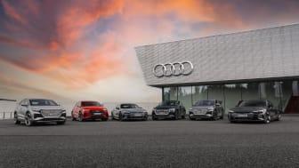 Audi ökar takten i omställningen. Redan idag finns ett brett elbilsprogram.