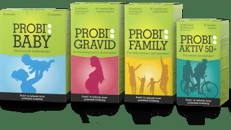 Nu lanserar Probi en ny serie produkter som är anpassade från spädbarn till alla aktiva från 50 år och uppåt.