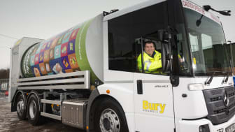 Cllr Alan Quinn at the wheel of one of the new bin wagons