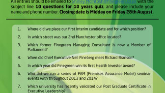 Finegreen at 10 - enter our birthday quiz now!