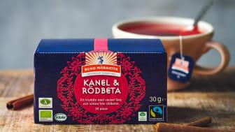 Nyhet! Kung Markatta Kanel & Rödbeta är ett ekologiskt kryddte med en god och unik smak i tehyllan. Teet är märkt med KRAV, Fairtrade, Ä-märket och Klimatkompenserade transporter.