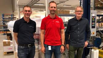 Godt samarbeid gir store besparelser. Fra venstre: Kjell-Erik Dahl (Empack Nor), Thomas Randlev (Motek), Bent Ove Amundsen (Papyrus Norge).