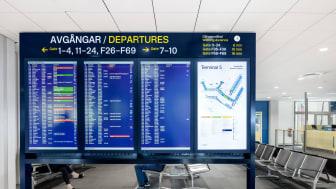 Departures at Stockholm Arlanda Airport.