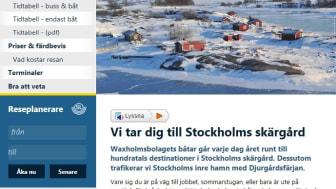 Talsatt information på Waxholmsbolagets webbplats