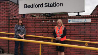 Sarah Broughton, Project Manager at Bedford Foodbank, with Bernie Lee, Bedford Station Manager