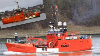 """Før- og -efter fotos af """"Esvagt Preventer"""" i Kielerkanalen. Fotograferet af """"shipspotter"""" Uwe Kuphaldt, KielerZwo"""