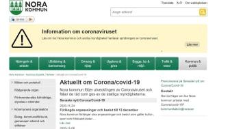 På Nora kommuns webbplats www.nora.se/corona finns all information om vad som gäller i Nora kommun kring corona-smittan.