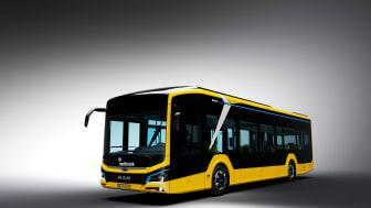 Både gule og blå elektriske busser vil snart pryde gadebilledet i Odder og Skanderborg kommuner. De gule er bybusser. De blå er til regional- og skoleruter i Odder.