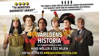 """Efter högt publiktryck adderas nu fler datum till föreställningen """"Världens Historia"""" av och med Özz Nûjen & Måns Möller"""
