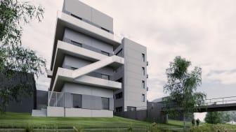 Flerfamiljshusen som byggs i Vallastaden i Linköping är extremt energisnåla och byggs i betong. Design: Campus Arkitekter