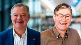 Odd Arild Grefstad, konsernsjef i Storebrand og Jon Hippe, leder for offentlig sektor i Storebrand.