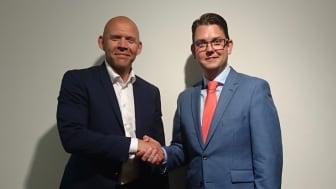 Mikael Bäckström, Co-Founder till ImagineCare och David Österlindh, Affärsområdeschef e-hälsa Sigma IT Consulting ser fram emot att tillsammans skapa digital vård i världsklass.