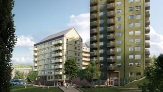 Kvarteret Terrassen med 165 hyresrätter på 1- 4 rum och kök är nu under byggnation i Kallebäcks Terrasser. Lägenheterna.  som ligger nära skogen, kommunikationer och områdets terrasspark, ska stå klara till Göteborgs 400-års jubileum 2021.