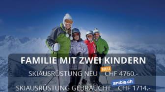 Preisstudie zu Skiausrüstung - Mit einer Occasions-Ausrüstung kann eine Familie beim gemeinsamen Ski-Ausflug bis zu 3000 Franken sparen