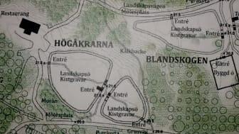 """Alla plana ytor på Granholmstippen utnyttjas av den planerade begravningsplatsen i Järva. """"Kälkbacken"""" går inte att använda (detalj från kyrkogårdsförvaltningens gestaltningsprogram)."""
