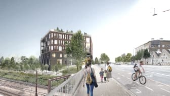 Der bliver kig til de mange tog fra det kommende KAB-Huset. Illustration: Henning Larsen Architects