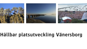 Hållbar platsutveckling visas i form av tre olika bilder: Halleberg, bro vid Skräckleparken och evenemang vid Vänerns strand.