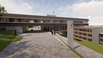 Ein lichtes, eingeschossiges Brückengebäude wird nach Fertigstellung des Erweiterungsneubaus die Bestandsgebäude des Landratsamts Calw miteinander verbinden. Visualisierung / copyright: 21-arch GmbH