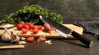 Knives_EGO-VG10_Chef Knife EVG20CK_w_veggies_landscape