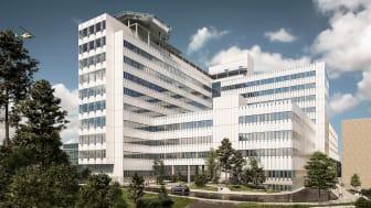 Illustration över den nya vårdbyggnaden vid Danderyds sjukhus.