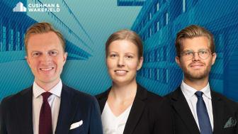 Från vänster; Peter W-O Berglin, tillträdande Valution & Strategic Advisory i Göteborg, Hanna Käck och Carl Axelsson som båda har anställts som analytiker vid Stockholmskontoret.