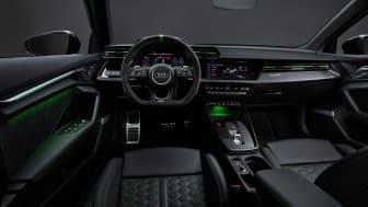 Audi RS 3 interiør med RS-designpakke i grøn
