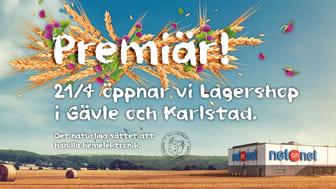 Expansionen av NetOnNet fortsätter och nu har turen kommit till Gävle och Karlstad som får vardera en NetOnNet Lagershop i staden. Båda Lagershopparna har premiär fredagen den 21 april kl. 08:00.