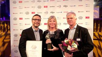 Mikael Borgman, Kajsa Lager och Peter Jaktling tog emot priset på CIO awards-galan.