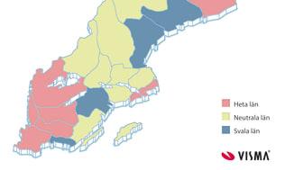 Kartan över heta och svala län januari 2012