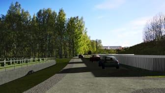 En sann illustration av Järva begravningsplats som bygger på projektets bygghandlingar. Skissen visar en liten del av sammanlagt 3 kilometer kombinerad gång- och bilväg som ska anläggas i kulturreservatet för begravningsöarna ska nås.