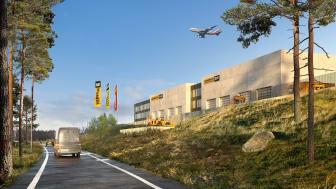 Illustration av Zeppelin Sveriges nya huvudanläggning vid Landvetter